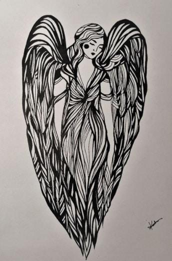 angel for woman bicep tattoo idea