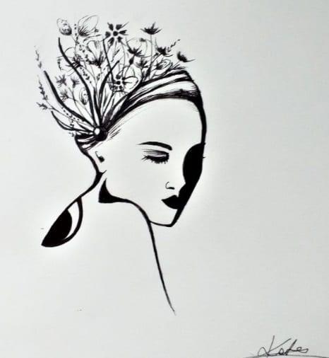 woman face bicep tattoo idea