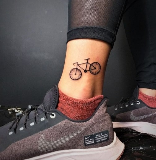 bike ankle tattoo design for woman