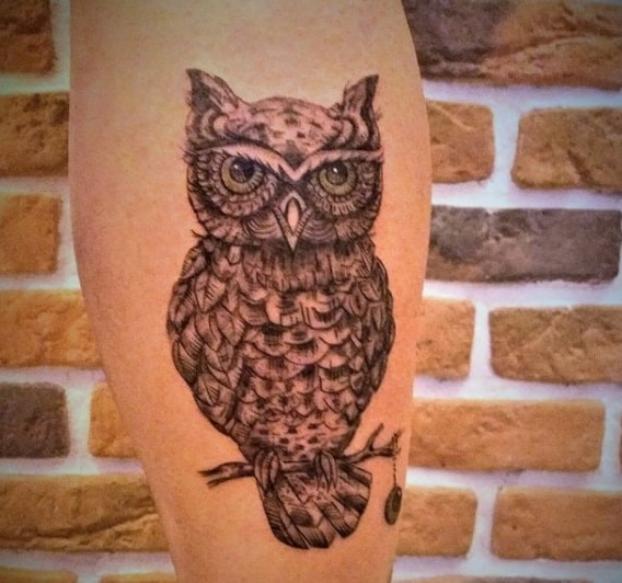 owl design calf tatto