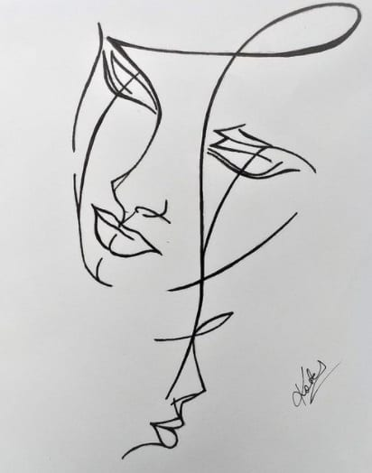 abstract faces tattoo on ribs design