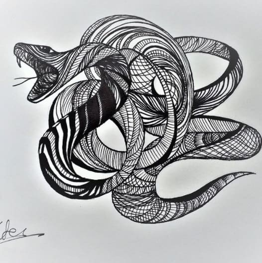 snake for man tattoo on ribs design abstract