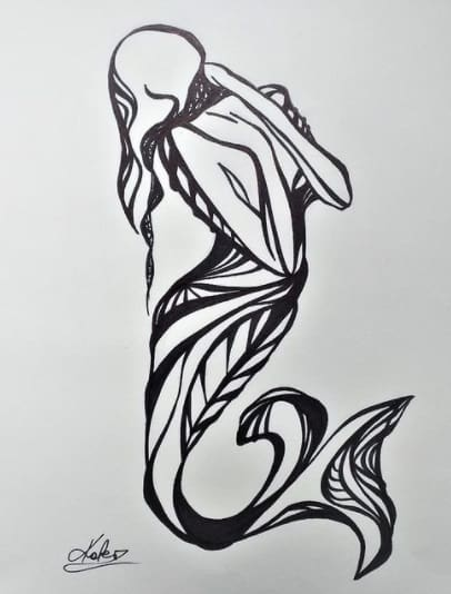 abstract woman tattoo on ribs design