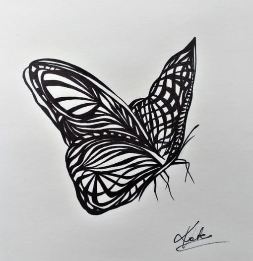 butterfly for woman tattoo on ribs design