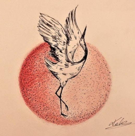 crane bird tattoo on ribs design