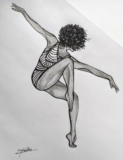 dancing lady tattoo on ribs design
