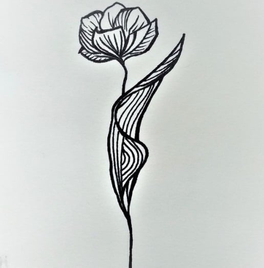 flower tattoo on ribs design