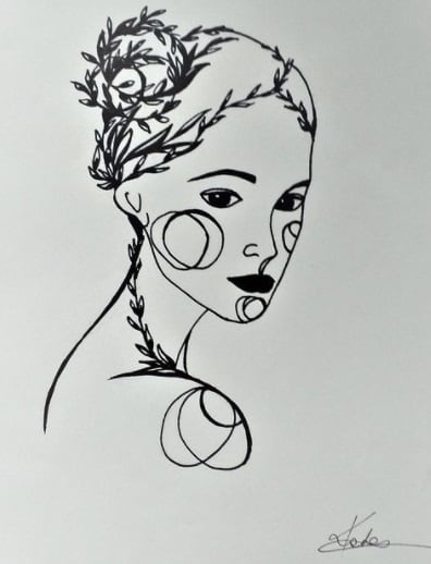 girls face tattoo on ribs design