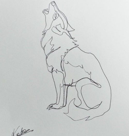 howling wolf tattoo on ribs design