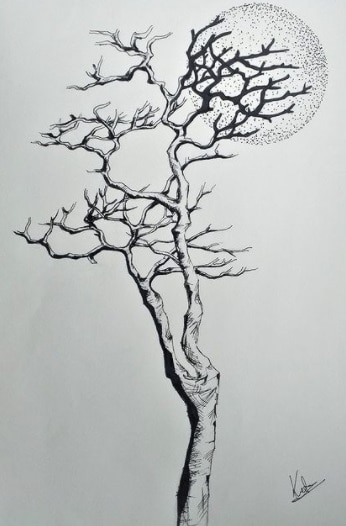 tree and moon tattoo on ribs design