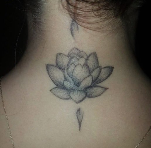 flower for woman tattoo on the neck