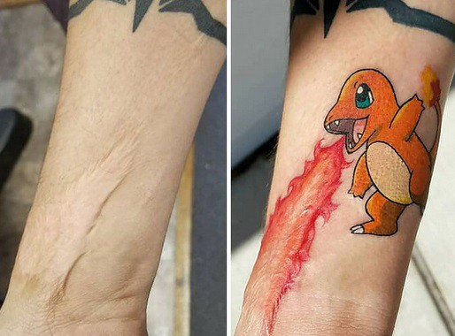 on forearm example tattoo on the scar for
