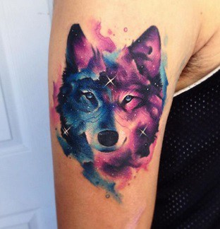 tattoo on biceps watercolour