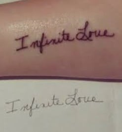 Lettering tattoo with mom's hand writing