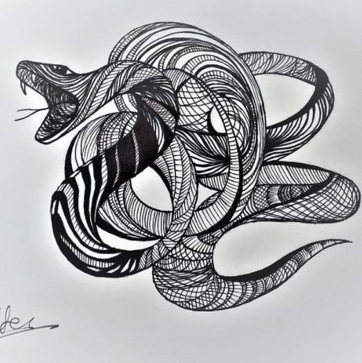 snake Tattoo on chest for men