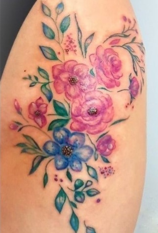 tattoo on thigh changing tattoo colors big color