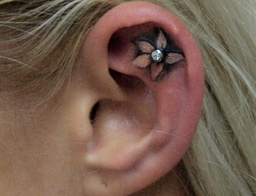 not on the same day ear tattoo with piercing