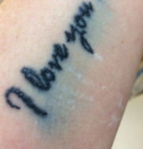 example of blowout on a lettering tattoo