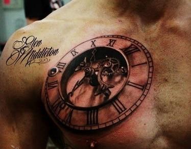 clock tattoo on chest for men