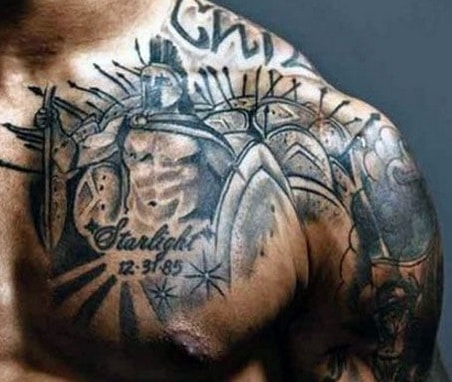 spartan tattoo on chest for men