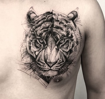 tiger idea tattoo on chest for men