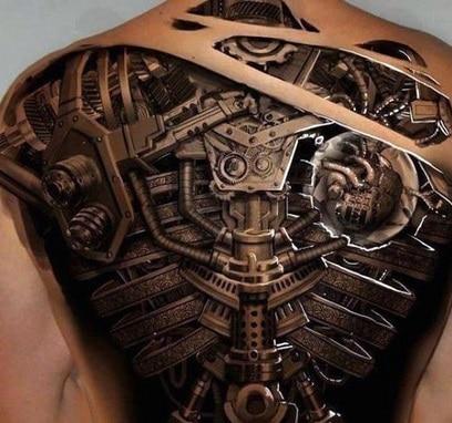 for men biomechanic tattoo on the back