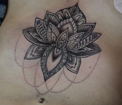 flower tattoo on the stomach
